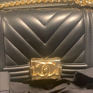 CHANEL Bags - CHANEL Chevron Quilted Small Boy Flap Black
